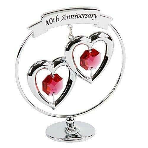 CrystoCraft 40th Anniversary Chrome Circle and Hearts with Swarovski Crystals